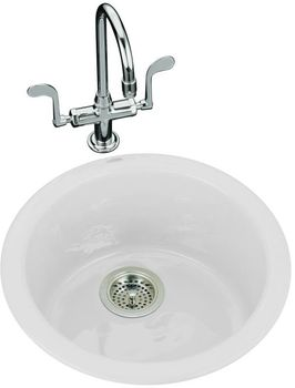 Kohler K-6565-0 Porto Fino Single Basin Cast Iron Bar Sink - White (Faucet and Accessories Not Included)
