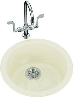 Kohler K-6565-KA Porto Fino Self-Rimming/Undercounter Entertainment Sink - Black/Tan (Faucet Not Included) (Pictured in Biscuit)
