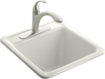 Kohler K-6655-1-0 Park Falls Smaller Size Utility Sink - White (Faucet Not Included)
