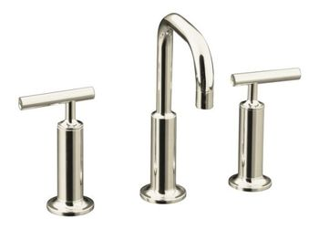 Kohler K-14407-4-SN Purist Widespread Lavatory Faucet - Polished Nickel
