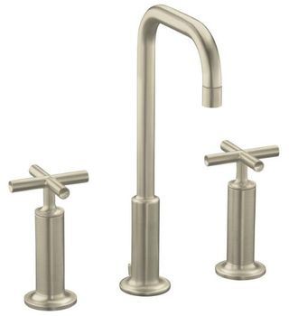 Kohler K-14408-3-BN Purist Widespread Lavatory Faucet - Brushed Nickel