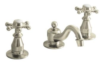 Kohler K-108-3-BN Antique Widespread Lavatory Faucet with 6 Prong Handles - Brushed Nickel