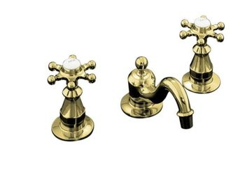Kohler K-108-3-PB Antique Widespread Lavatory Faucet with 6 Prong Handles - Polished Brass