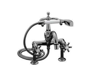 Kohler K-110-3-CW Antique Bath Faucet with Handshower - Polished Chrome with White Accents