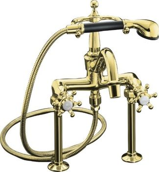 Kohler K-110-3-PB Antique Bath Faucet with Handshower - Polished Brass with Black Accents
