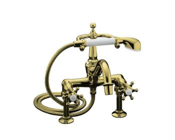 Kohler K-110-3-PW Antique Bath Faucet with Handshower - Polished Brass with White Accents
