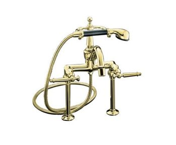Kohler K-110-4-PB Antique Bath Faucet with Handshower - Polished Brass with Black Accents