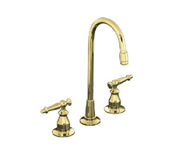 Kohler K-118-4-PB Antique Entertainment Sink Faucet w/Lever Handles - Polished Brass