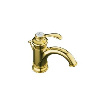 Kohler K-12182-BRZ Fairfax Single Control Lavatory Faucet with Lever Handle - Oil Rubbed Bronze (Pictured in Polished Brass)