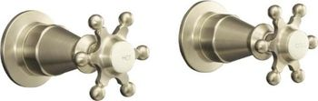 Kohler K-124-3-PB Antique 2-Handle Wall-Mount Valve Trim w/Six Prong Handles - Polished Brass (Pictured in Brushed Nickel)