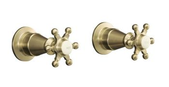 Kohler K-124-3-BV Antique 2-Handle Wall-Mount Valve Trim w/Six Prong Handles - Brushed Bronze