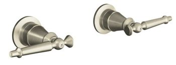 Kohler K-124-4-BN Antique 2-Handle Wall-Mount Valve Trim w/Six Prong Handles - Brushed Nickel