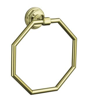 Kohler K-13112-AF Pinstripe Towel Ring - French Gold