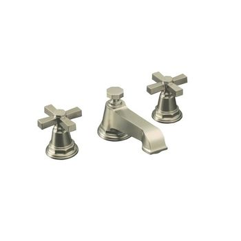 Kohler K-13132-3A-BN Pinstripe Pure Widespread Lavatory Faucet with Metal Cross Handles - Brushed Nickel