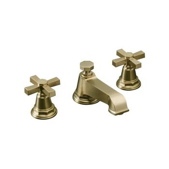 Kohler K-13132-3A-BV Pinstripe Pure Widespread Lavatory Faucet with Metal Cross Handles - Brushed Bronze