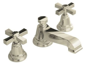 Kohler K-13132-3A-SN Pinstripe Pure Widespread Lavatory Faucet with Metal Cross Handles - Polished Nickel