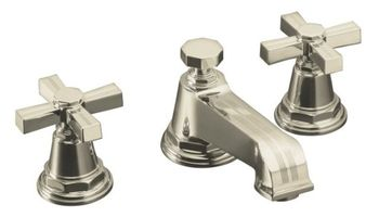 Kohler K-13132-3B-SN Pinstripe Pure Widespread Lavatory Faucet with Metal Cross Handles - Polished Nickel