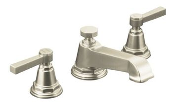 Kohler K-13132-4A-BN Pinstripe Pure Widespread Lavatory Faucet with Metal Lever Handles - Brushed Nickel