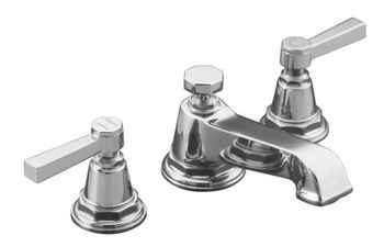 Kohler K-13132-4A-CP Pinstripe Pure Widespread Lavatory Faucet with Metal Lever Handles - Chrome