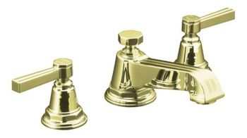 Kohler K-13132-4B-AF Pinstripe Pure Widespread Lavatory Faucet with Metal Lever Handles - French Gold