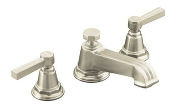 Kohler K-13132-4B-BN Pinstripe Pure Widespread Lavatory Faucet with Metal Lever Handles - Brushed Nickel