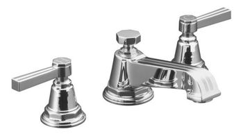 Kohler K-13132-4B-CP Pinstripe Pure Widespread Lavatory Faucet with Metal Lever Handles - Chrome