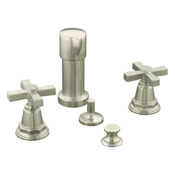 Kohler K-13142-3A-BN Pinstripe Pure Bidet Faucet with Cross Handles - Brushed Nickel