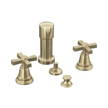 Kohler K-13142-3A-BV Pinstripe Pure Bidet Faucet with Cross Handles - Brushed Bronze