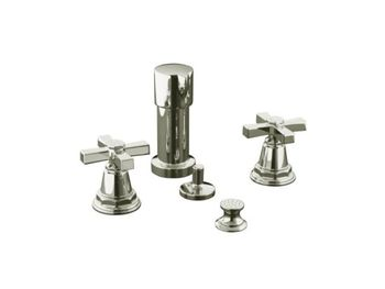 Kohler K-13142-3A-SN Pinstripe Pure Bidet Faucet with Cross Handles - Polished Nickel