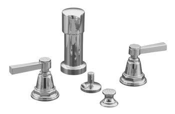 Kohler K-13142-4A-CP Pinstripe Pure Design Bidet Faucet with Lever Handles - Chrome