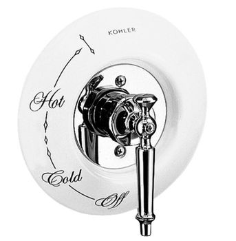 Kohler K-146-0 Ceramic Dial Plate - White (Pictured w/Valve Trim - Not Included)