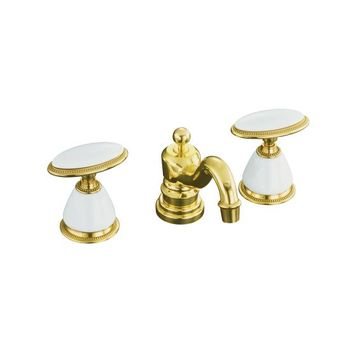 Kohler K-280-9B-PB Antique Widespread Lavatory Faucet - Polished Brass
