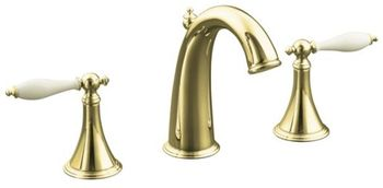 Kohler K-310-4F-PB Final Traditional Widespread Lavatory Faucet with Lever Handles and Biscuit Inserts - Polished Brass