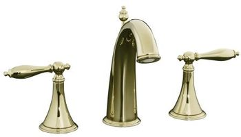 Kohler K-310-4M-AF Finial Traditional Widespread Lavatory Faucet with Lever Handles - French Gold