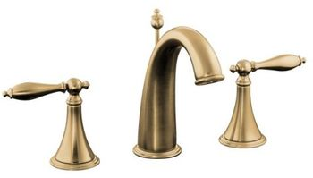 Kohler K-310-4M-BV Finial Traditional Widespread Lavatory Faucet with Lever Handles - Brushed Bronze