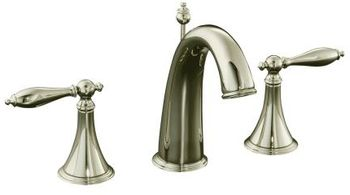 Kohler K-310-4M-SN Finial Traditional Widespread Lavatory Faucet with Lever Handles - Polished Nickel