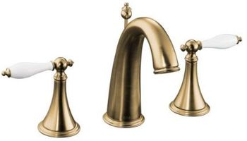 Kohler K-310-4P-BV Finial Traditional Widespread Lavatory Faucet with Lever Handles - Brushed Bronze