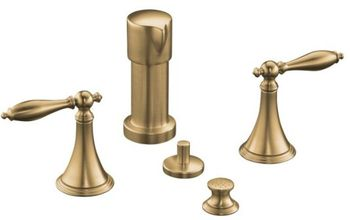 Kohler K-316-4M-BV Finial Traditional Bidet Faucet with Lever Handles and Matching Handle Inserts - Brushed Bronze