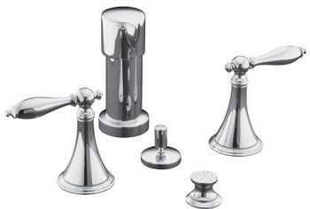 Kohler K-316-4M-CP Finial Traditional Bidet Faucet with Lever Handles and Matching Handle Inserts - Chrome