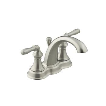 Kohler K-393-N4-PB Devonshire Centerset Lavatory Faucet - Polished Brass (Pictured in Brushed Nickel)