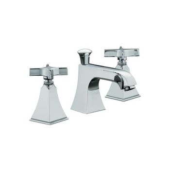 Kohler K-454-3S-CP Memoirs+ Widespread Lavatory Faucet with Stately Design and Cross Handles - Polished Chrome