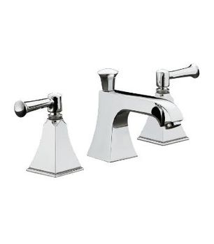 Kohler K-454-4S-CP Memoirs+ Widespread Lavatory Faucet with Stately Design and Lever Handles - Polished Chrome