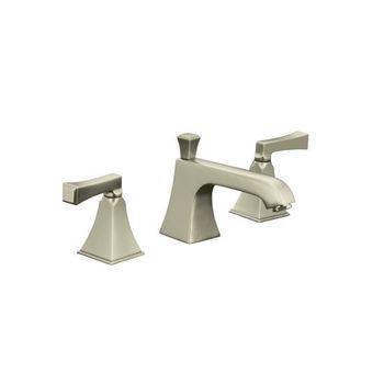 Kohler K-454-4V-BN Memoirs Widespread Lavatory Faucet w/Deco Lever Handles - Brushed Nickel