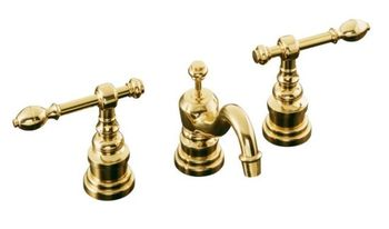 Kohler K-6811-4-PB IV Georges Brass Widespread Lavatory Faucet with Lever Handles - Polished Brass