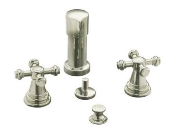 Kohler K-6814-3-PB IV Georges Brass Bidet Faucet with Cross Handles - Polished Brass (Pictured in Satin Nickel)