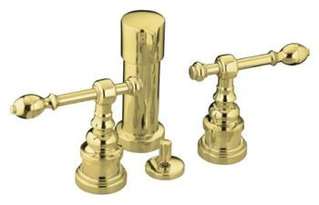 Kohler K-6814-4-PB IV Georges Brass Bidet Faucet with Lever Handles - Polished Brass