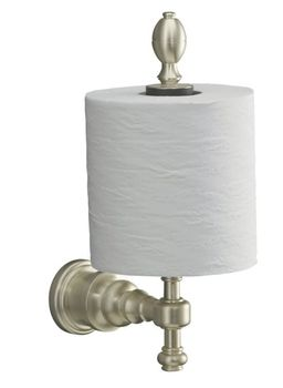 Kohler K-6818-SN IV Georges Brass Vertical Toilet Tissue Holder - Polished Nickel (Pictured in Brushed Nickel)