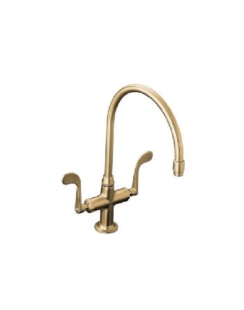 Kohler K-8762-BV Essex Kitchen Sink Faucet w/Wristblade Handles - Brushed Bronze