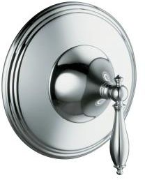 Kohler K-T10301-4M-CP Finial Traditional Thermostatic Valve Trim with Lever Handle and Polished Accents - Chrome (Valve Not Included)