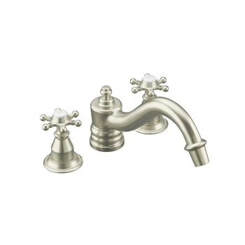 Kohler K-T125-3D-BV Antique Deck-Mount High-Flow Bath Faucet Trim - Brushed Bronze (Pictured in Brushed Nickel)